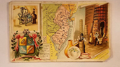 Arbuckles Coffee Card 1892 United States Map New Jersey