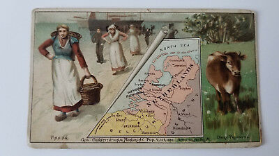 Arbuckles Coffee Card 1889 Map Netherlands