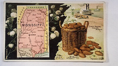 Arbuckles Coffee Card 1892 United States Map Mississippi Steam Boat