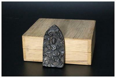 BB03 Japanese Antique Bronze plate esoteric Buddhism Acala statues w/box Japan