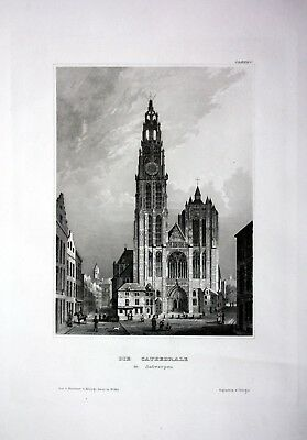 1840 - Antwerpen Anvers Kathedrale Kirche Dom Belgien engraving Stahlstich