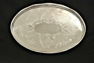 Vintage English Silver Plate Footed Reticulated Gallery Tray Serving Tray