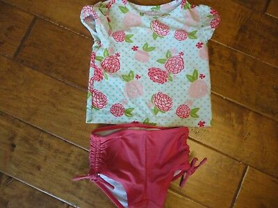 Girls Circo Size 4T 2 Piece Swim Suit Floral Top Pink Bottoms Gathered on Sides