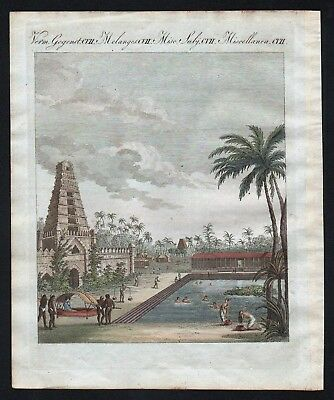1800 - Hindu India Asia temple East Indies engraving antique print Bertuch