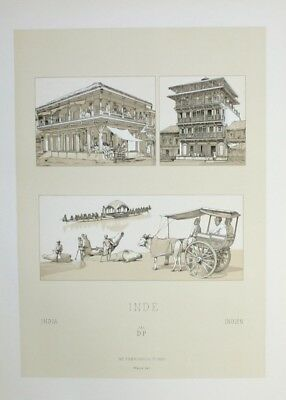 1880 - Haus Häuser house architecture Indien India Lithographie lithograph