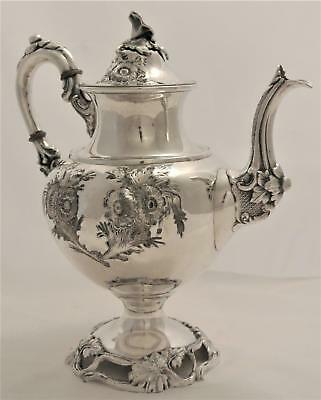 Victorian Civil War Era Aesthetic Hand Chased Floral Repousse Coffee Pot Tea Pot