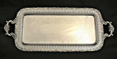 E G Webster Reticulated Footed Drinks Serving Tray Beverage Tray Waiters Tray