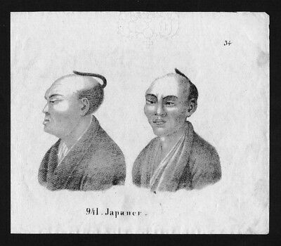 1830 - Japan Nippon costumes Asia Lithographie Lithograph