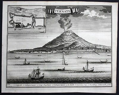 1726 Ternate Panorama view Indonesia Maluku islands Moluccas map Valentijn Asia