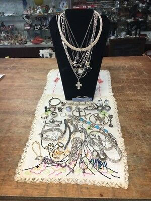 LOT OF VINTAGE STERLING SILVER JEWELRY FOR USE OR SCRAP 508 GRAMS Over 1lb