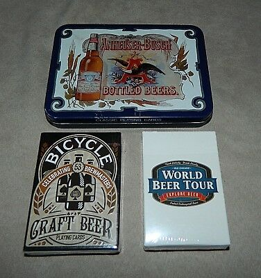 Lot of 4 Beer Related Playing Cards-Craft-Anheuser-Busch Bottled Beers 2 Decks+