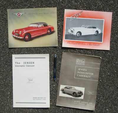 JENSEN MOTORS 2 DOOR CABRIOLET INTERCEPTOR ADVERTISING BROCHURE LOT of 4  1950s