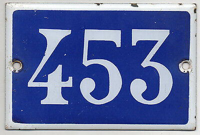 Old blue French house number 453 door gate plate plaque enamel steel metal sign