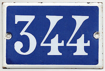 Old blue French house number 344 door gate plate plaque enamel steel metal sign