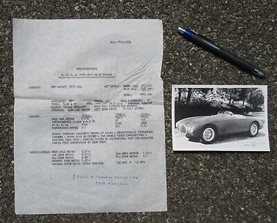 Vintage Maserati O.s.c.a. Type Mt-4 Mille Miglia Factory Photo & 1953 Spec Sheet