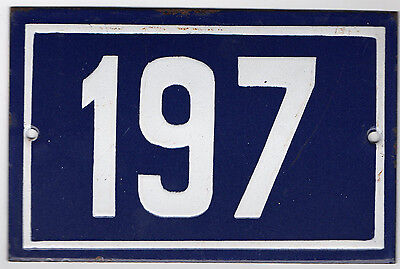 Old blue French house number 197 door gate plate plaque enamel steel metal sign