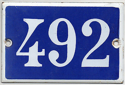 Old blue French house number 492 door gate plate plaque enamel steel metal sign