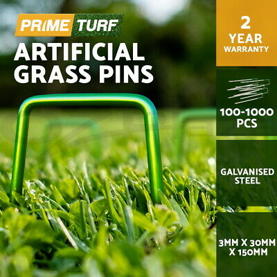 Primeturf Synthetic Artificial Grass Pins Fake Lawn Turf Weed Mat U Pegs