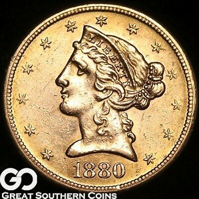 1880-S Half Eagle, $5 Gold Liberty, Nice! ** Free Shipping!