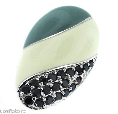 Oval Desing with Black Stones Silver Rhodium Plated Ladies Ring Size 7