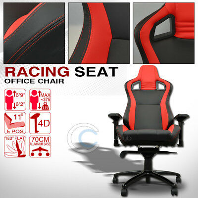 Mu Racing Style Pvc Leather Bucket Reclinable Seat Chair Black/red Stitches Cl10