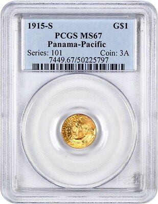 1915-S Panama-Pacific G$1 PCGS MS67 - Popular Gold Commemorative Issue