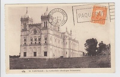 1936 Carthage Tunisia to France Marseille Gare PAQUEBOT Postcard - Redirected