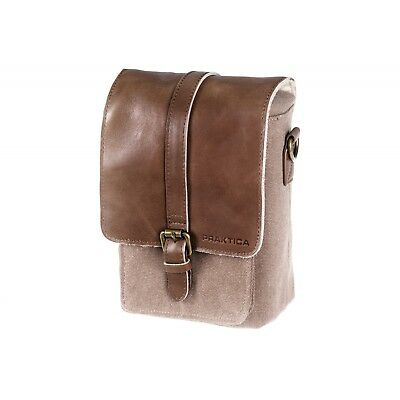 PRAKTICA Heritage Binocular Shoulder Case Bag Brown/Tan Canvas & Leather