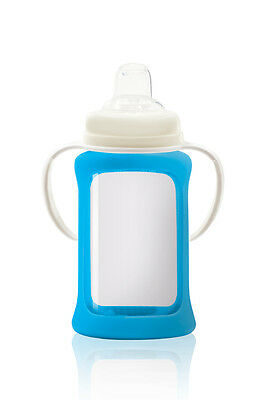 Cherub Baby Glass Sippy Cup Silicone Shock Proof Sleeve 240ml BLUE Free postage