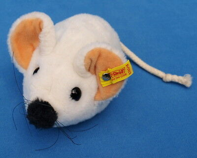 Steiff Maus Stofftier 5393/15 Weiss Weich Mouse 17 Cm Knopf & Fahne