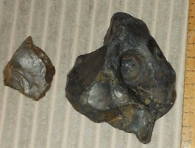 Neolithic Flint Arrowhead And Handaxe With Hole (Possibly A Firelighter Stone)
