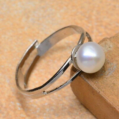 Natural Pearl 18K White Gold Plated Ring Size Adjustable 5.25/5.75/6.25/6.75