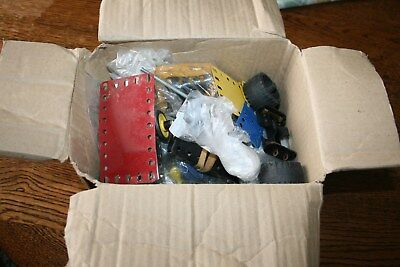 Box of Meccano old bits and pieces job lot parts 1.5 KG screws wheels brackets