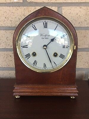 Vintage Mahogany Cased Woodford Striking Mantle Clock & Key Working Order