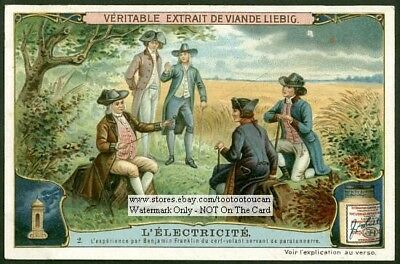 Ben Franklyn Flying The Kite Electricity 1907 Trade Ad Card