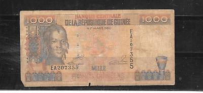 Guinea #37 1998 Good Used 1000 Franc New Banknote Bill Note Paper Money