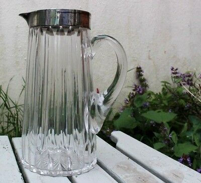 Large Antique Glass Pitcher /jug With Solid Silver Rim. J.g & S. Birmingham 1885