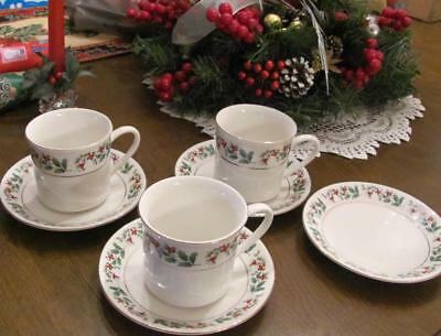GIBSON HOLLY BERRY CUP/SAUCER Fine China Everyday Christmas ...