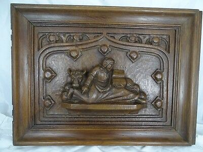Antique French Solid Oak Carved Wood Door Church Decor - Gothic Panel a Beef