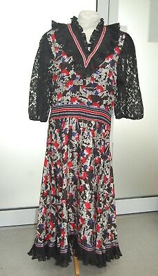 Vintage Diane Fres Dress - Late 70s - Boho Style With Flower Designs
