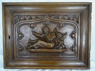 Antique French Solid Oak Carved Wood Door Church Decor - Gothic Panel Angel