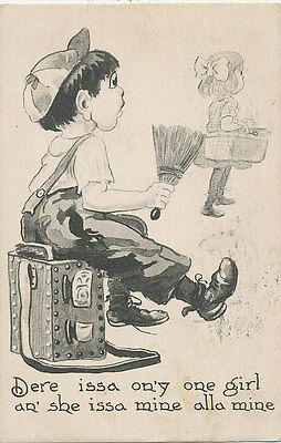 C689 1912 Postcard Comic Humour Children Love Romance