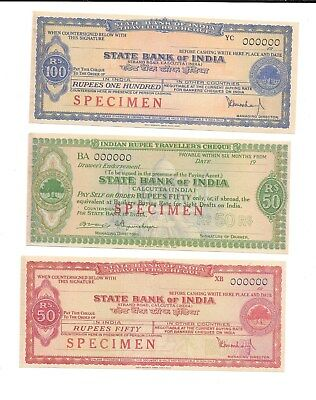 India 1955- State Bank of India Specimen Travellers Checks-Lot of 3