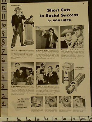1943 Pepsodent Bob Hope Dental Dentist Actor Hygiene Tooth Paste Ad22963