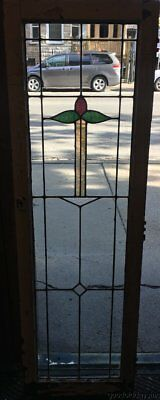 "Antique 1920's Stained Leaded Glass Cabinet Door 57"" by 18"""