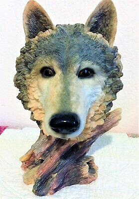 Wolf Head-Wild Life Resin figurine statue; 12 inches tall-very detailed
