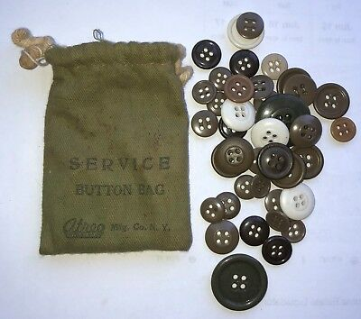 """Original WWII US Army Soldiers """"Service Button Kit"""" Bag and Forty (40) Buttons"""