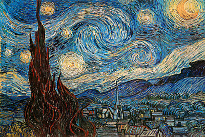 Vincent Van Gogh The Starry Night Post Impressionist Painting Poster 36x24