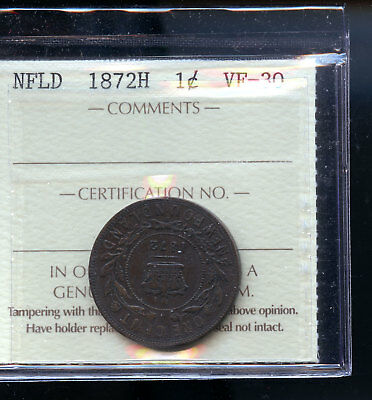1872 H Newfoundland Large Cent ICCS Certified VF30 E434