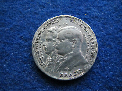 1922 Brazil Silver 2000 Reis - 100th Anniversary Independence- Free U S Shipping
